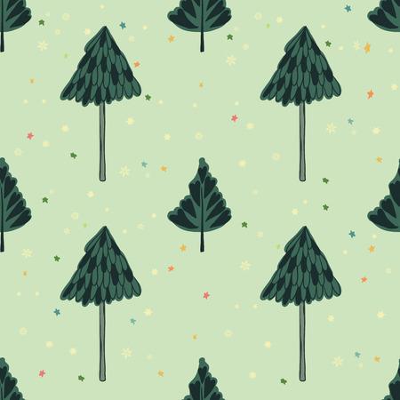 Schoonheid en leuke kerst naadloze patroon van de spar voor textiel, papier, omslag, plakboek, achtergrond Vector illustratie Stockfoto - 66410061