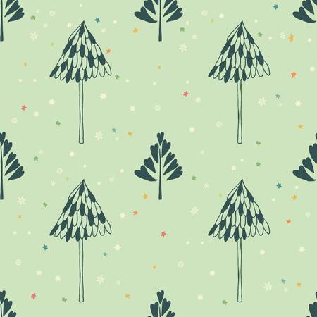 Schoonheid en leuke kerst naadloze patroon van de spar voor textiel, papier, omslag, plakboek, achtergrond Vector illustratie Stockfoto - 66410062