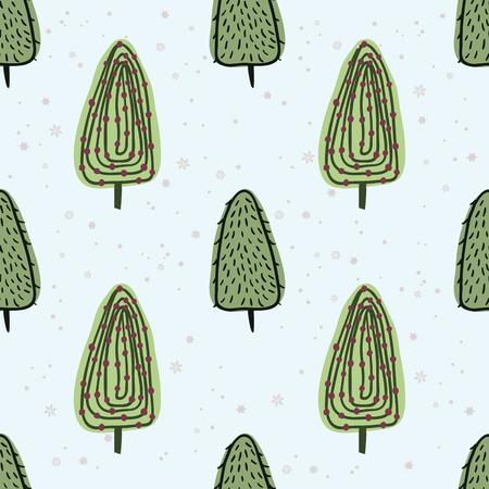 Schoonheid en leuke kerst naadloze patroon van de spar voor textiel, papier, omslag, plakboek, achtergrond Vector illustratie Stockfoto - 66410063