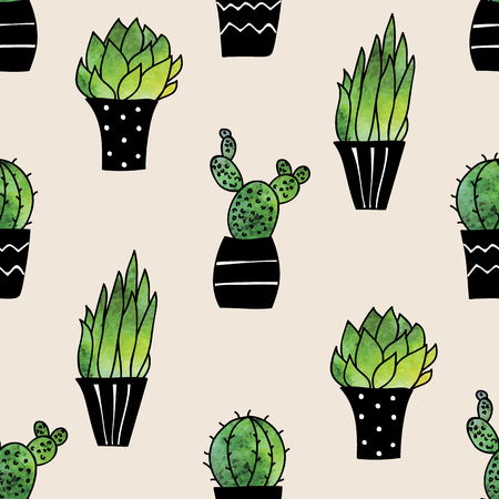 Beauty and cute seamless pattern of watercolor cacti for textile, paper, wrap, scrapbook, background Vector illustration