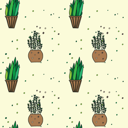 Beauty and cute seamless pattern of cacti for textile, paper, wrap, scrapbook, background Vector illustration