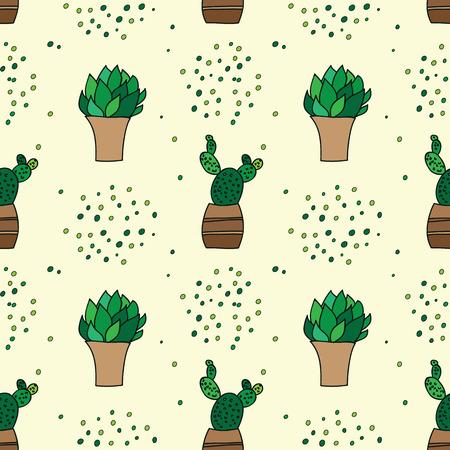 Schoonheid en leuke naadloze patroon van cactussen voor textiel, papier, omslag, plakboek, achtergrond Vector illustratie Stock Illustratie