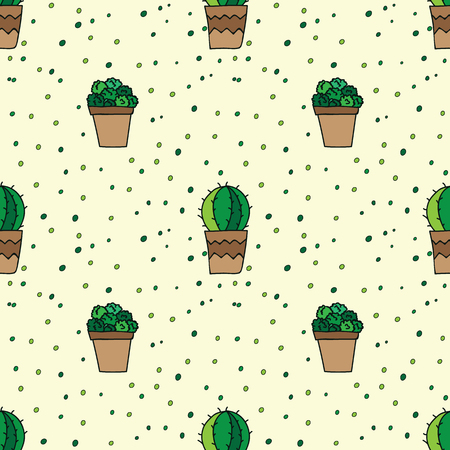 Beauty and cute seamless pattern of cacti for textile, paper, wrap, scrapbook, background Vector illustration Reklamní fotografie - 66410068