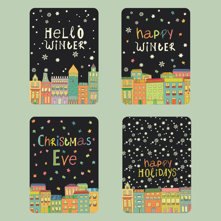 Set van kerst en Nieuwjaar kaarten met een felle kleur huizen, sneeuwvlokken en sterren. Inscriptie kerstmis vooravond, gelukkig winter, hello winter, gelukkig vakantie Vector illustratie Stockfoto - 66410102