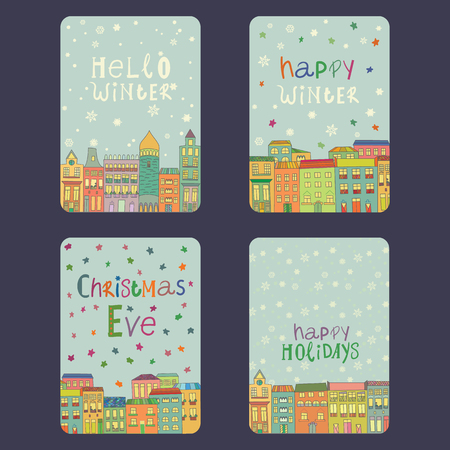 Set of christmas and New Year cards with bright color houses, snowflakes and stars. Inscription christmas eve, happy winter,  hello winter, happy holidays  Vector illustration