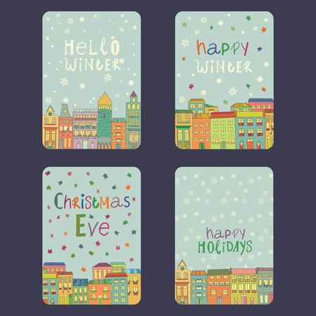 Set van kerst en Nieuwjaar kaarten met een felle kleur huizen, sneeuwvlokken en sterren. Inscriptie kerstmis vooravond, gelukkig winter, hello winter, gelukkig vakantie Vector illustratie Stock Illustratie