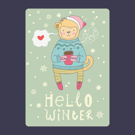 Christmas and New Year cards with cute monkey on santa hat with a cup of coffee / tea, snowflakes and chat bubble with heart. Inscription hello winter Vector illustration Ilustracja