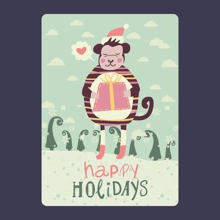 Christmas and New Year cards with cute monkey on santa hat with red gift  and snowflake, green fir-tree and with chat bubble with heart . Inscription happy holidays Vector illustration