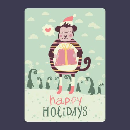 Kerst- en nieuwjaarskaarten met leuke aap op kerstmuts met rode gift en sneeuwvlok, groene spar en met praatjebel met hart. Inscriptie happy holidays Vector illustratie