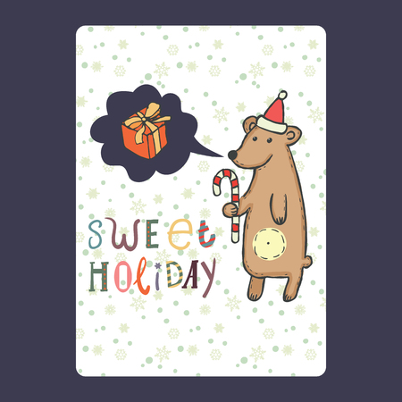 Christmas and New Year cards with cute bear on santa hat with candy cane and snowflake and with chat bubble with gift. Inscription sweet holiday Vector illustration