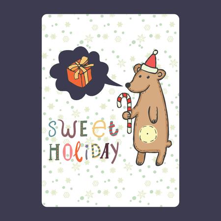 Kerstmis en Nieuwjaar kaarten met schattige beer op kerstmuts met riet van het suikergoed en sneeuwvlok en met praatjebel met cadeau. Inscriptie zoete vakantie vectorillustratie Stockfoto - 66410121