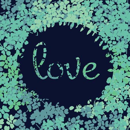Schoonheid en elegantie heldere bloemen voor textiel, papier, wrap, plakboek, achtergrond, uitnodiging, kaarten met Inscriptie hou van vectorillustratie