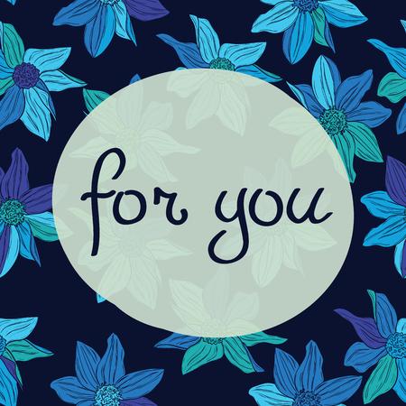 Heldere het bloemen heldere bloemen van de schoonheid en van de elegantie voor textiel, document, omslag, plakboek, achtergrond, uitnodiging, kaarten met Inschrijving voor u Vectorillustratie Stock Illustratie