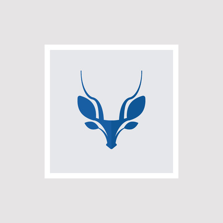 Blue gazelle silhouette. Vector illustration Illustration