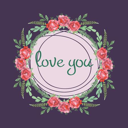 Waterverf roze, rood en groen sjabloon voor huwelijksuitnodiging, sparen de datumkaarten Stock Illustratie