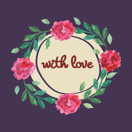 Aquarel roze, rode en groene kaartsjablonen voor bruiloft uitnodiging, bewaar de datum-kaarten, moeders dag, Valentijnsdag met bloemen en inscriptie met liefde Vector illustratie eps 10