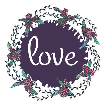 Aquarel roze en groene kaartsjablonen voor bruiloft uitnodiging, bewaar de datum-kaarten, moeders dag, Valentijnsdag met bloemen en inscriptie liefde Vector illustratie eps 10