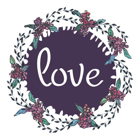 Aquarelle rose et vert modèles de cartes pour l'invitation de mariage, enregistrer les cartes de date, fête des mères, Saint Valentin avec des fleurs et l'amour d'inscription Illustration vectorielle eps 10 Banque d'images - 82816585