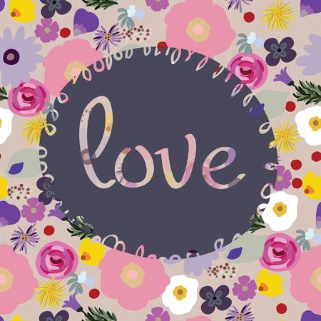 Beauté et élégance seamless pattern fleurs brillantes pour textile, papier, enveloppement, scrapbook, fond, invitation, cartes avec Inscription amour Vector illustration Banque d'images - 82805962