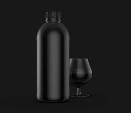 3D Rendering Realistic Black Plastic Bottles with Glass Isolated on Grey Background