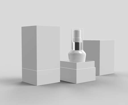 Premium Plastic White Bottles with box 3D Rendering Realistic Isolated Mock Up on Grey Background