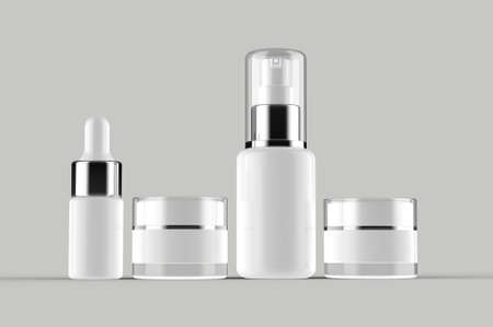 Close Up Set 3D Rendering Cosmetic Mock up White Plastic Serum Droplet Spray Bottle Pot Cream with Clear Cap Isolated on Grey Background