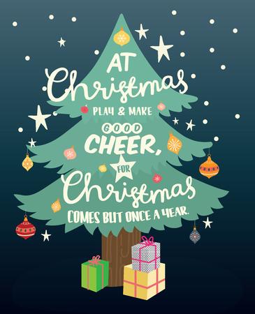 christmas tree illustration: Happy New Year greeting card. Christmas card. Celebration background with Christmas, Christmas tree, Vector Illustration