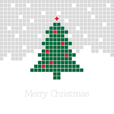 Christmas background with pixel Christmas tree. illustration vector eps 10