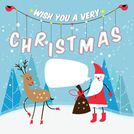 red nosed reindeer: vector christmas illustration of santa claus and red nosed reindeer. Vector illustration.