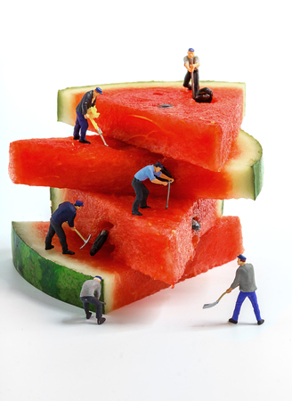 The concept of Construction site. teamwork of miniature toy workers join a real watermelon. Close-up view.