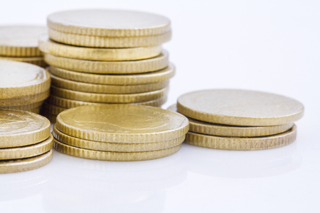 gold coin stack isolated on white Stock Photo