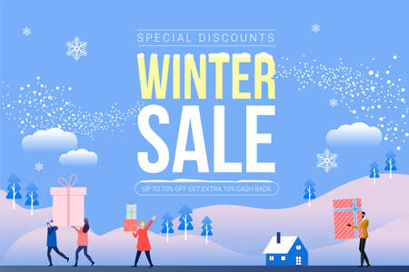 Winter sale banne. social network banner. banner design with white snowflakes. Customers celebrating sale Vector.
