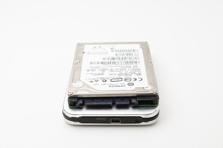 external hard disk drive: Kedah, Malaysia - January 25, 2015 : Hitachi Laptop Hard Disk Drive. Hitachi provides infrastructure and business solutions.  Hitachi founded on 1910 located in Ibaraki Japan.