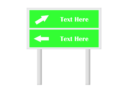 need direction: Green Double Signboard With Direction Arrow . Created Digitally. Suitable for signboard concept use or any relevant need.