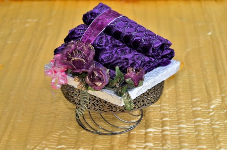 Malay Wedding Present give by exchanging the present between Bride to Groom. This is a traditional cultural of Malay and still can be found in Malaysia. Stock Photo