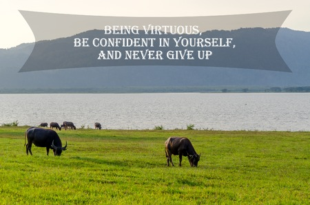 Inspirational Motivating Quote on nature background. Being virtuous, be confident in yourself, and never give up. Stock Photo