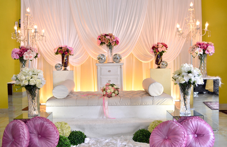 dais: Bridal Dais of Malaysian Tradition in Wedding Ceremony. The must have culture in Malay Tribe in Malaysia.