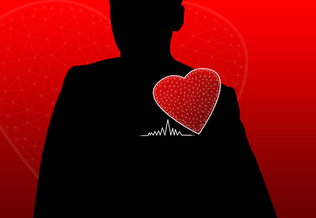 Shadowed person with red  heart Stock Photo