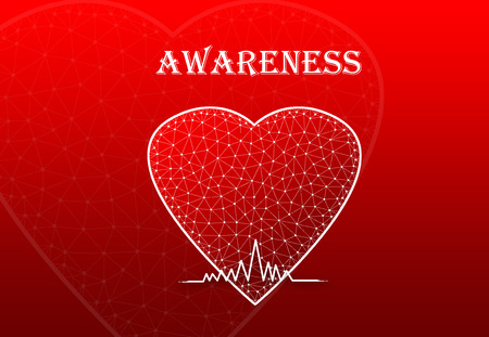 Heart Shape with heart beat symbol and text awareness