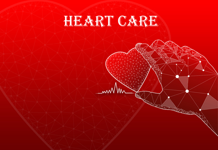 Hand holding heart with text Heart Care