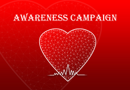 Heart Shape with heart beat symbol and text Awareness Campaign Stock Photo
