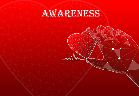 Hand holding heart with text Awareness
