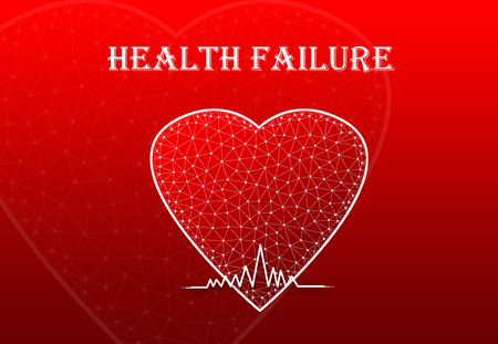 Heart Shape with heart beat symbol and text Health Failure Stock Photo