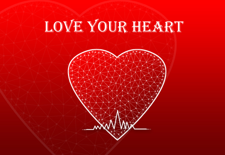 Heart Shape with heart beat symbol and text Love Your Heart