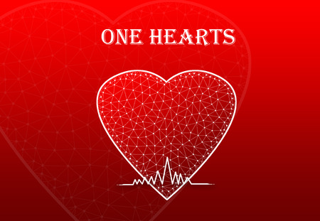 Heart Shape with heart beat symbol and text One Heart