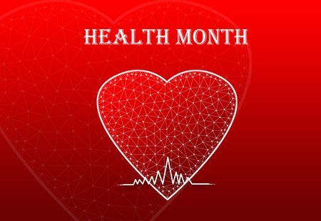 Heart Shape with heart beat symbol and text Health Month