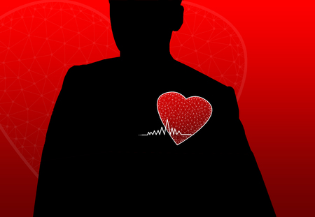 shadowed: Shadowed person with red  heart Stock Photo