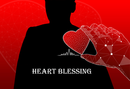 Shadowed person with hand holding red heart and text Heart Blessing Stock Photo