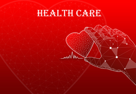 Hand holding heart with text Health Care Stock Photo