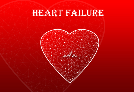 Heart Shape with heart beat symbol with text Heart Failure